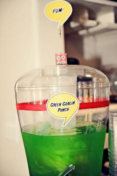 Spiderman Party: The Green Goblin Punch ( green koolaid for kids)