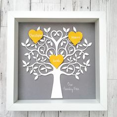 Family Tree Framed And Personalised Any Colours and Words Mothers Day Gift - The British Craft House Family Tree Designs, Family Tree Frame, Memory Wall, Art Archive, Wooden Art, Picture Design, Pebble Art, Home Crafts, House Warming