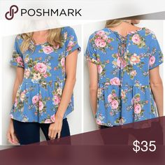 Darling and so soft Indigo floral top! Beautiful Indigo blue flattering babydoll top with back lace up detail in floral pattern Tops