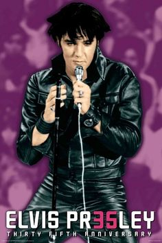 Elvis Presley 35th Anniversary Purple Rock and Roll Music Poster