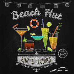 "Chalkboard Art-Beach Party-Bar-Tiki Bar-Americana-Cocktails-Juice-Aloha-Paradise-Ocean-Sea-Martini-Rum-Summer Beach Hut-Print 12x12"" No.699"