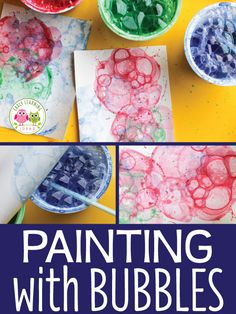 Looking for new art activities for kids? Bubble painting is a fun process art activity for your kids Spring, summer, winter, fall, your can make bubble art projects year round. Preschool Art Projects, Summer Activities For Kids, Preschool Crafts, Children Art Projects, Summer Activities For Preschoolers, Art Projects For Toddlers, Children Activities, Art For Kindergarteners, Art For Toddlers