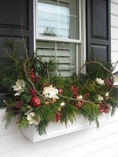 Christmas Window Boxes, Winter Window Boxes, Christmas Urns, Christmas Planters, Christmas Arrangements, Outdoor Christmas Decorations, Winter Christmas, Christmas Wreaths, Fall Planters