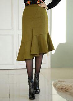 Asymmetrical Flounced Hem Skirt, Styleonme