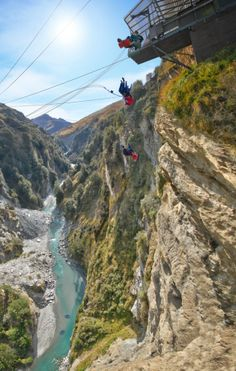 The Shotover Canyon Swing in Queenstown is the world's highest cliff jump. Try this adrenaline-stimulating activity today! Queenstown Gardens, Queenstown New Zealand, Robinson Crusoe, Air New Zealand, Bungee Jumping, Auckland, Oh The Places You'll Go, Places To Visit, New Zealand
