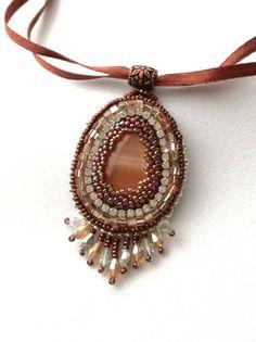 Brown and Silve Handmade Pendant - Memet Jewelry by MyMemet on Etsy
