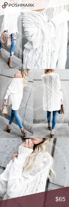 TRENTON Knit Sweater - CREAM A MUST HAVE for any sweater lover!  100% cotton, v-neck sweateR.  TRUE COLOR IS PIC 5..  Available in cream, dark olive & mauve.  NO TRADE  PRICE FIRM Bellanblue Sweaters
