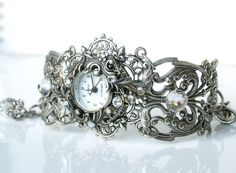 Silver Watch Women Floral Bracelet Watch Ladies Filigree Watch Vintage Style Victorian Gothic Unique Watches Victorian Jewelry by LeBoudoirNoir on Etsy https://www.etsy.com/listing/164123139/silver-watch-women-floral-bracelet-watch