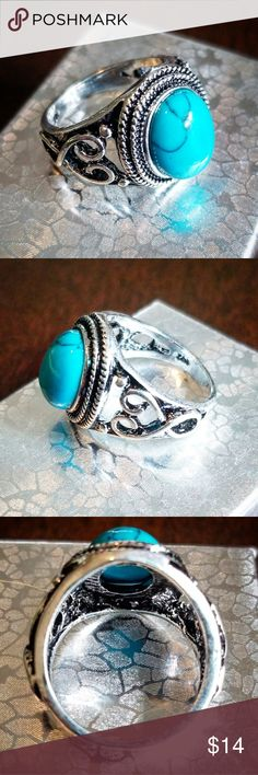Turquoise Ring sz 8 💍 🍍🍍🍍•reasonable offers welcome•🍍🍍🍍 🍍•check out my closet to bundle and save!•🍍  Turquoise statement ring with filigree side design NWOT Jewelry Rings