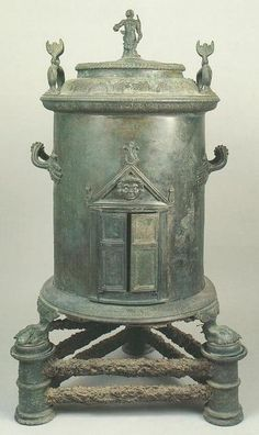 Not really a samovar, but closely related. Food warmer. Bronze Imperial Roman cylindrical food warmer from the House of the Four Styles, Pompeii.