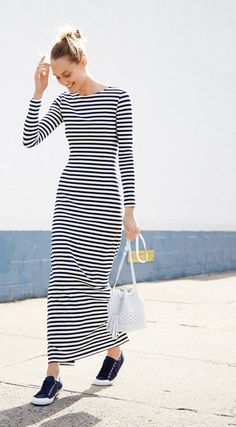 2e72ee0776d J.Crew Looks We Love  women s long-sleeve striped maxi dress