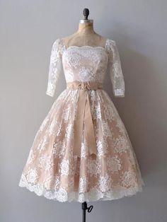 Retro Modest Mocha Lace Short Wedding Dress with Long Sleeves