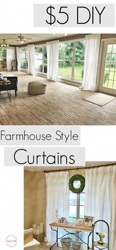Farmhouse living room DIY curtains now sew just 5 to make each of the farmhouse curtains Cheap farmhouse decor via musthavemom Farmhouse Decor Living Room, Farmhouse Style Curtains, Curtains Living Room, Living Room Diy, Cheap Curtains, Home Decor, Farm House Living Room, New Homes, Farmhouse Curtains