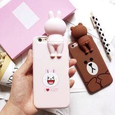 Cheap case for iphone, Buy Quality silicone case directly from China case for iphone 5 Suppliers:        Hot Lovley Korean Line Friend Brown Bear Cony Rabbit Cartoon Shell Cover for iPhone 5 5S SE 6 6S 6plus 7 Pl