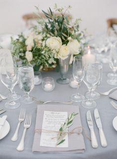 Gorgeous table inspiration: http://www.stylemepretty.com/2015/02/12/romantic-ivory-grey-ojai-valley-inn-wedding/   Photography: Diana McGregor - http://www.dianamcgregor.com/