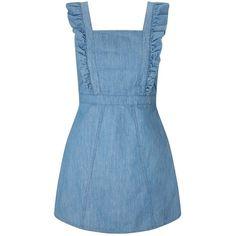 Miss Selfridge PETITE Denim Pinafore Dress (€59) ❤ liked on Polyvore featuring dresses, blue, miss selfridge, petite, flouncy dress, denim dresses, blue pinafore dress and blue dress
