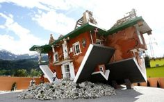 Seems like I have read a story about a house that was upside down... Mrs. PiggleWiggle, or something.