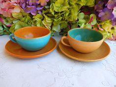 2 Vintage Paul Revere Pottery Saturday Evening Girls SEG Cups & Saucers #2