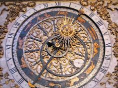 France church Lyon ancient clock Zodiac time sun moon