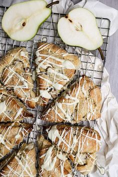 Pear and Ginger Scones with White Chocolate Drizzle   www.floatingkitchen.net