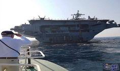 """حاملة الطائرات الأميركية """"يو إس إس جورج بوش"""" ترسو قرب ميناء حيفا المحتلة: حاملة الطائرات الأميركية """"يو إس إس جورج بوش"""" ترسو قرب ميناء حيفا…"""