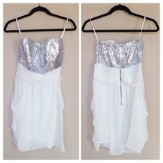 NWT Arden B Silver Sequin & White Dress New with tags Arden B dress. Beautiful for a special occasion! Strapless with a back zipper, silver sequins at chest, white chiffon bottom. ❌NO TRADES OR PAYPAL❌ Arden B Dresses Strapless