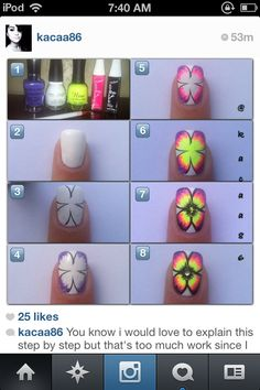 Cute girly flower nail design