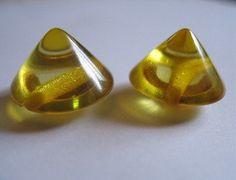 Yellow Vintage Cone Bakelite Button