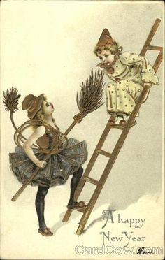 Girl Chimney Sweep and Clown on Ladder Children