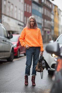 that orange jumper is aces (+ the rest) Lulu in Copenhagen.  #StockholmStreetStyle