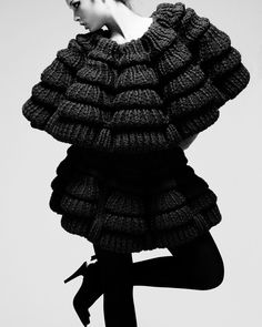 Sculptural Knitwear Design - knitted dress with tiered shape; 3D fashion // Sandra Backlund