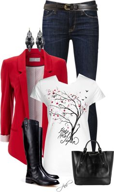 red jacket black and white top and dark denim