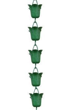 Monarchs Pure Copper Tulip Rain Chain in Green Patina finish 8-1/2 Feet Length by Monarch Int'l Inc.. $69.99. Enhances a beautiful home; material pure copper. Narrows down to avoid splashing. Wide mouth to collect maximum amount of water. Chain measures 8-1/2 feet in length; cup measures 2.5-Inches in length by 2.5-Inches in width by 2.5-Inches in height. Ornamental substitute for plastic downspout; sound of tinkling water is soothing. Monarchs Pure Copper Tulip Rain Cha...