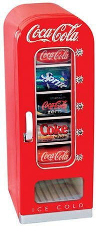 Koolatron Coca Cola Vending Cooler.This stylish vending cooler with its retro charms is set-up with a 12V DC plug-in to be used in car or boat and a 110V AC outlet for home or office use. This 10-can cooler cools to 32 F below the ambient temperature, keeping food and drinks fresh for anytime consumption. https://api.shopstyle.com/action/apiVisitRetailer?id=522789877&pid=uid8100-34415590-43