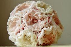 Fabric Flower Wedding Bouquet,  Fabric Bridal Bouquet, Weddings, Custom Colors, Vintage Wedding. $220.00, via Etsy.