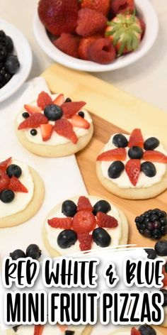 These red white & blue mini fruit pizzas are bursting with summer berry flavor! Sugar cookies topped with cream cheese icing & delicious berries! Perfect for the 4th, Memorial Day, or any picnic! Delicious Cookie Recipes, Yummy Cookies, Oatmeal Cookies, Chocolate Chip Cookies, Peanut Butter Cookies, Sugar Cookies, No Bake Desserts, Easy Desserts, Mini Fruit Pizzas