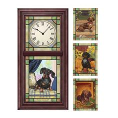 Dachshund Stained Glass Clock by Christopher Nick
