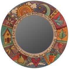 Circle Mirrors by Sticks, Sticks Circle Mirrors, Artistic Artisan Designer Mirrors Painted Chairs, Hand Painted Furniture, Mirror Mosaic, Mosaic Art, Round Mirrors, Circle Mirrors, Sticks Furniture, Furniture Nyc, Circular Mirror