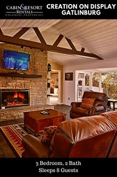 Mountain views await you at Creation on Display! This Gatlinburg TN cabin has 2 fireplaces, hot tub, pool table, jetted tub and a great location!