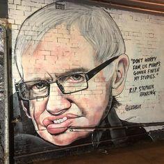 New Wall Art Stephen Hawking By Australian Artist Lushsux Featured On Diabolical Rabbit® Murals Street Art, Graffiti Murals, 3d Street Art, Street Art Graffiti, Mural Art, Stephen Hawking, Amazing Street Art, Amazing Art, Caricatures