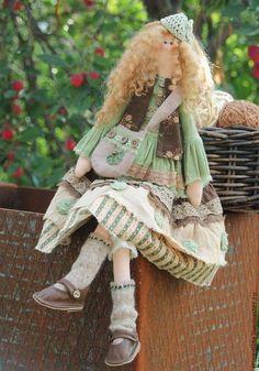 Куклы Тильды ручной работы. Ярмарка Мастеров - ручная работа. Купить Летняя Тильда бохо.Повтор.. Handmade. Оливковый ♡