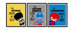 "Superhero Bathroom Art Prints - Set of 3 Prints - ""Even Spiderman Washes His Hands"" SimplyLoveCreations via Etsy"
