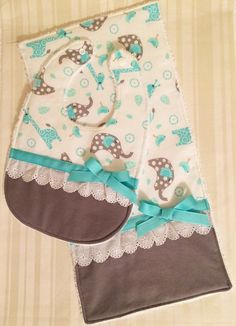 Your place to buy and sell all things handmade - Elephant and Giraffe Bib and Burp Set, Cute Baby Shower Gift, Gray and Aqua Bib Set, Baby Girl Bib - Classic Baby Books, Cute Baby Shower Gifts, Baby Bibs Patterns, Easy Baby Blanket, Baby Sewing Projects, Baby Girl Quilts, Baby Burp Cloths, Baby Crafts, Cute Babies