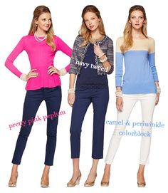 I love these Lily Pulitzer looks! My favourite pieces are the pants, hot pink peplum top, and tweed little jacket.