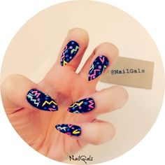 Colourful doodles on black stiletto nails set of 20!! hand painted - nail art - press on nails - false nails - acrylic nails by NailGalsBoutique on Etsy