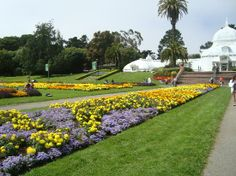 Surround by flowers to highlight background when colors on an outfit are more muted. San Francisco, Californië: Flower observatory at Golden Gate Park