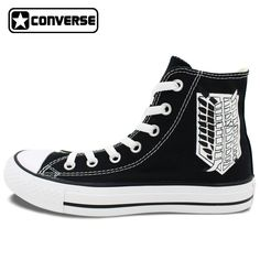 Converse Chuck Taylor Shoes Anime Attack on Titan Scout Regiment Hand Painted Canvas Sneakers Men Women All Star Shoe #Affiliate