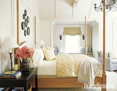 Cherrywood pencil-post bed. Design: Susan Tully. Photo: Laura Moss. housebeautiful.com.