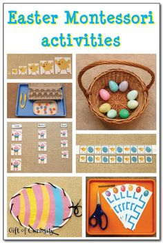 A collection of Easter Montessori activities featuring practical life, sensorial, math, colors, and sorting activities.