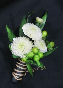 Picture of Twine Wrapped Button Pom Boutonniere